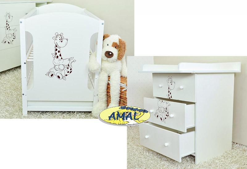 AMAL Zostava - postieľka MIKI + komoda s prebaľ. pultom MIKI, biela