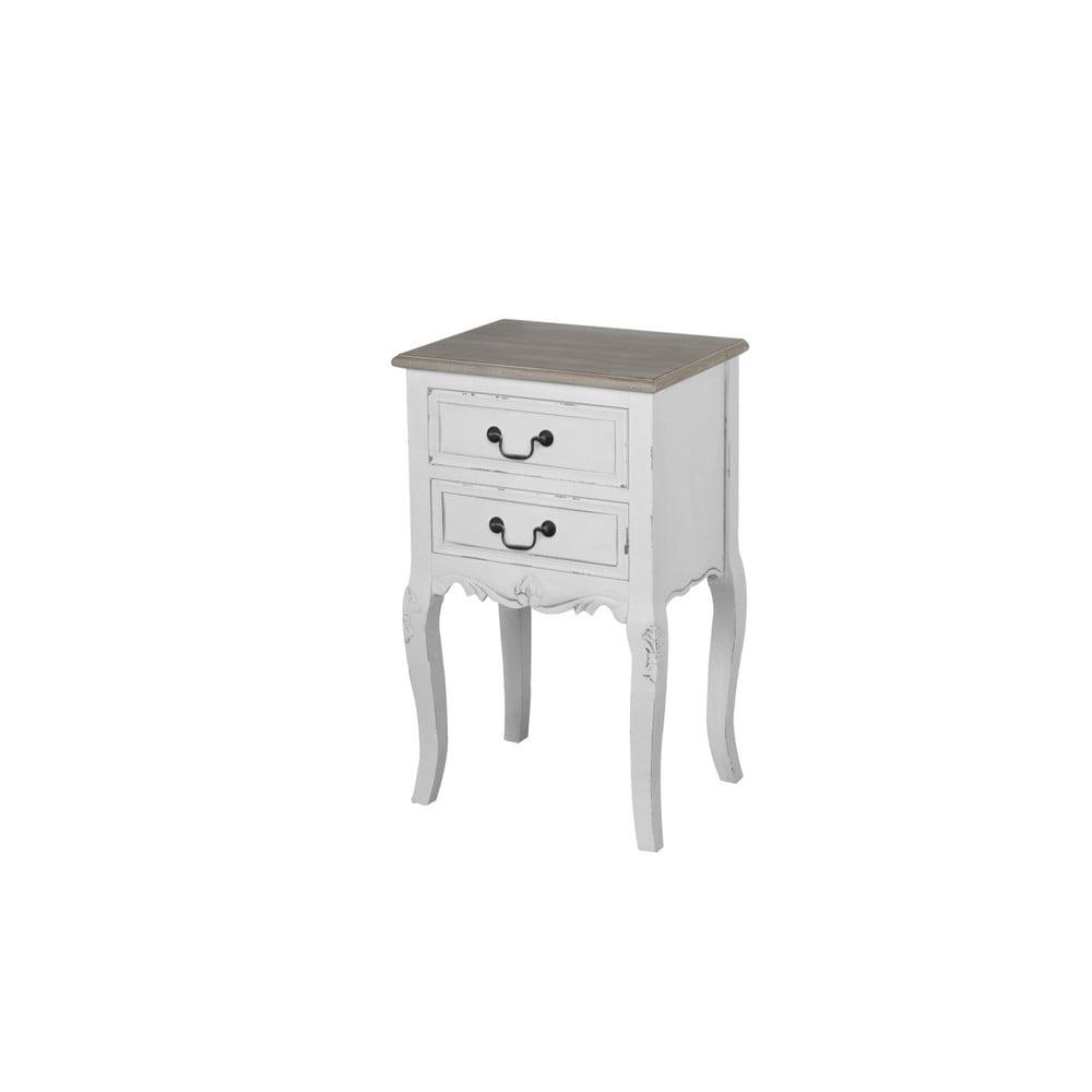 Biely nočný stolík z topoľového dreva Livin Hill Rimini