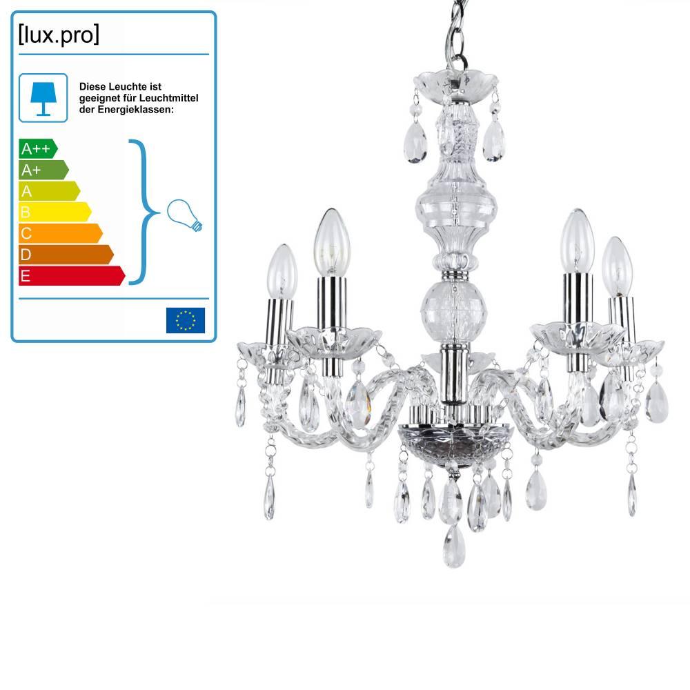[lux.pro]® Elegantný luster – päťramenná stropná lampa – 5 x E14 - chrómová