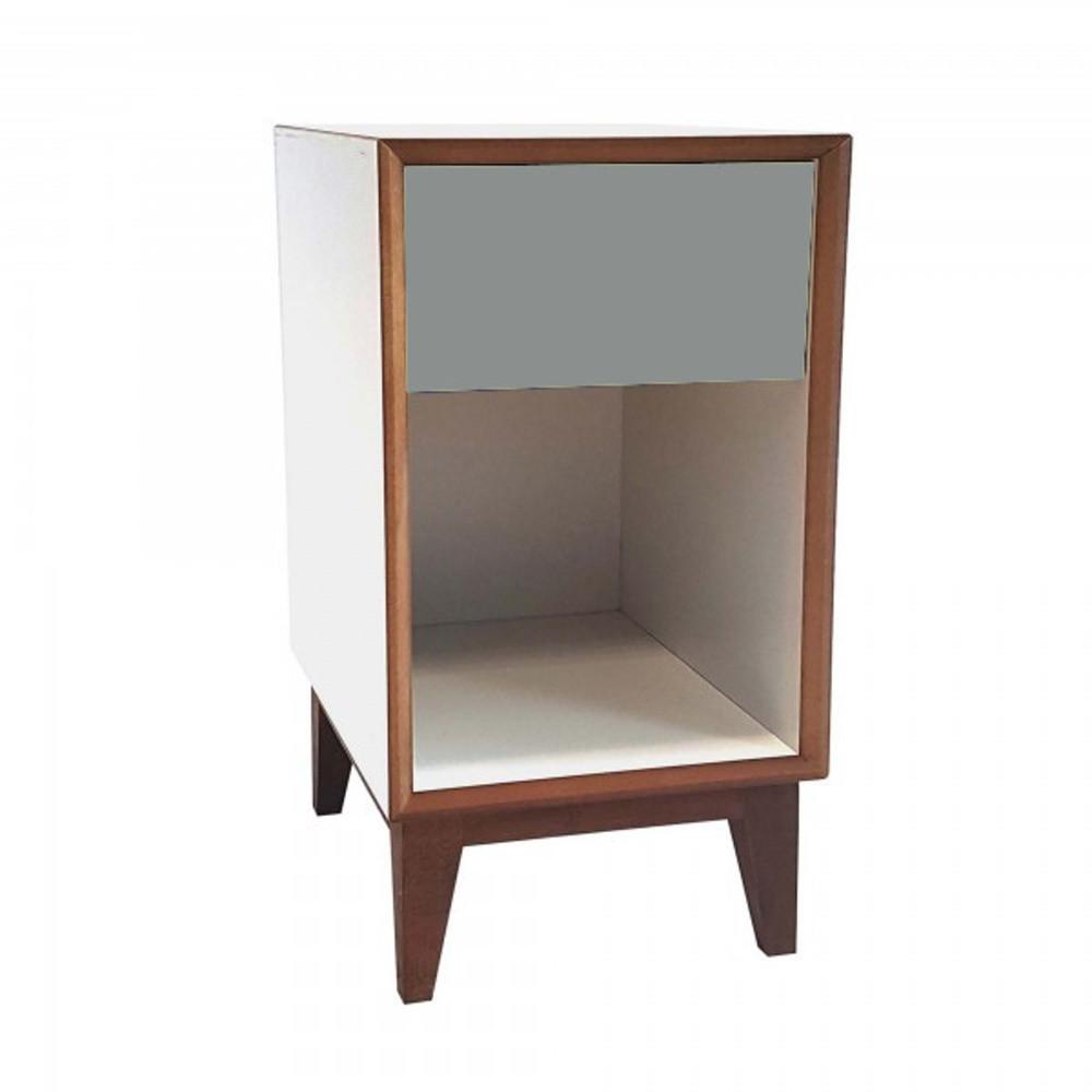 Veľký nočný stolík s bielym rámom a tmavosivou zásuvkou Ragaba PIX