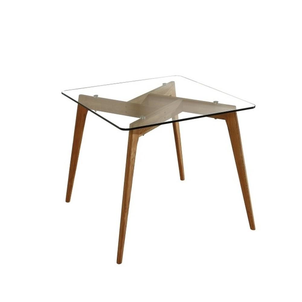 Čtvercový jedálenský stôl s hnedýma nohami Marckeric Janis, 90 x 90 cm