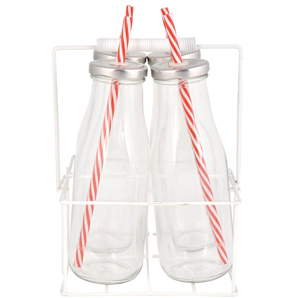 Nosič so 4 sklenenými fľašami Esschert Design Farma