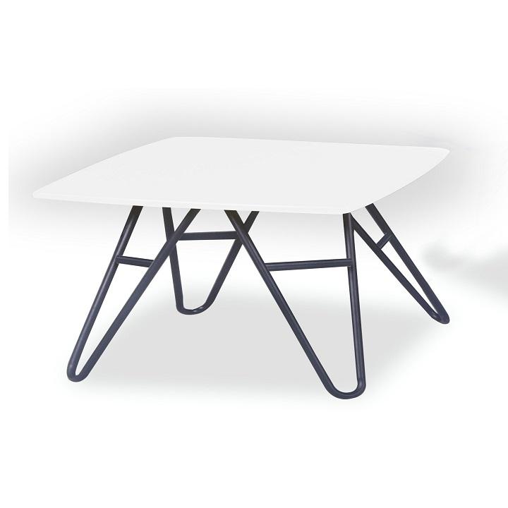 TEMPO KONDELA Konferenčný stolík, biela vysoký lesk/čierna, KANER 2