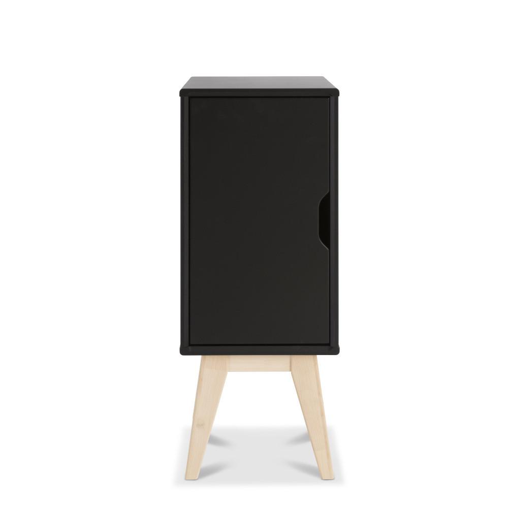 Čierny ručne vyrobený nočný stolík z masívneho brezového dreva KiteenKolo