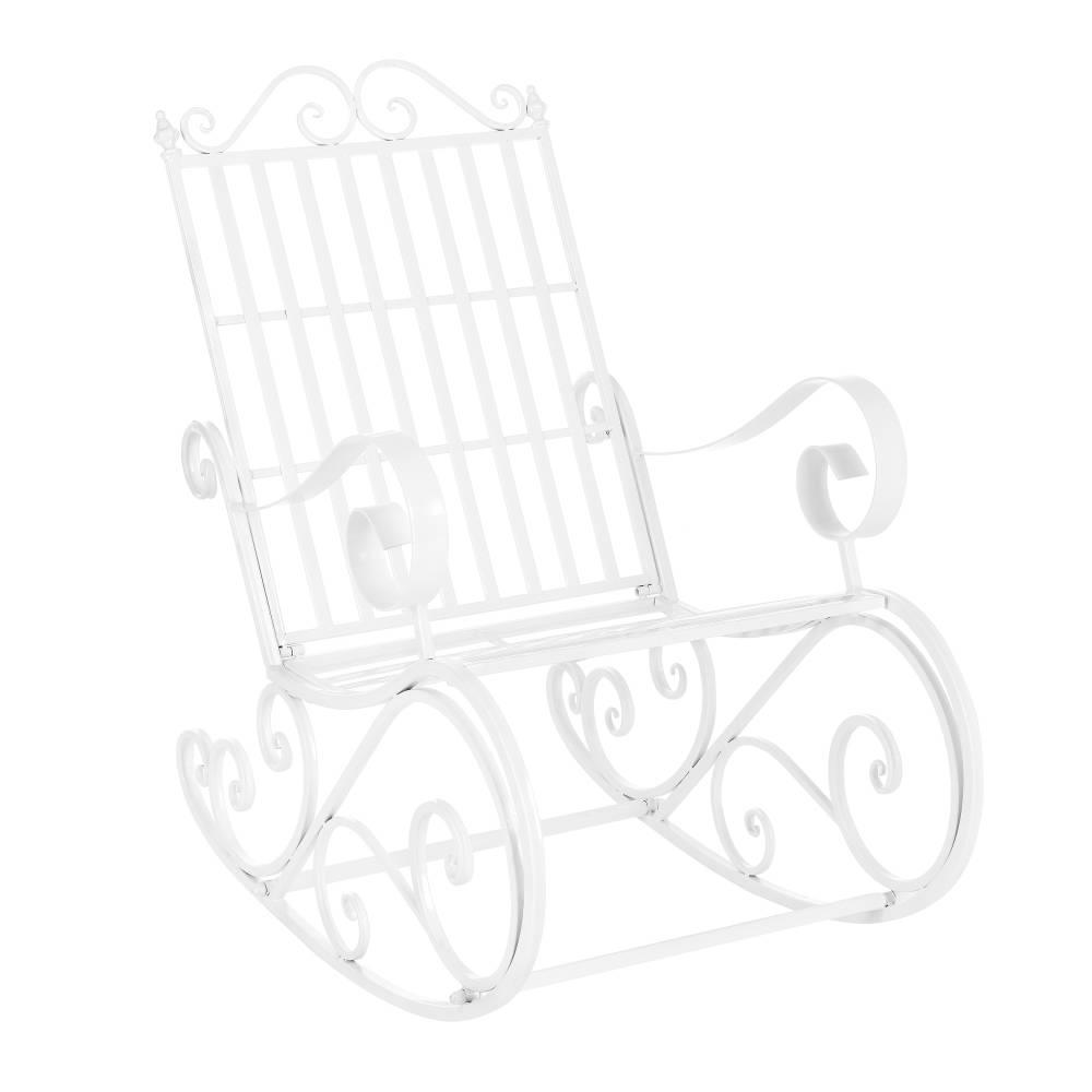[casa.pro]® Kovové hojdacie kreslo - 92 x 59 x 90 cm - biele