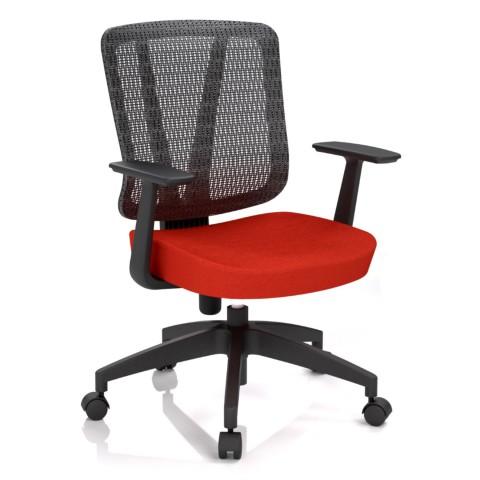 Rauman Kancelárska stolička Casa, červená, opora chrbta sieťová čierna CASA NET B14