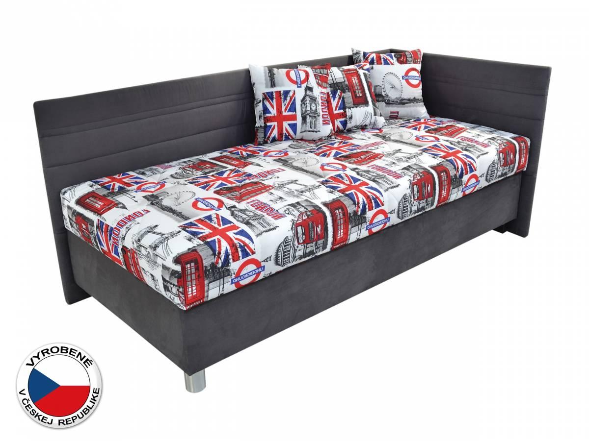 Jednolôžková posteľ 90 cm Blanár Polly (biela + sivá) (s roštom a matracom) (P)