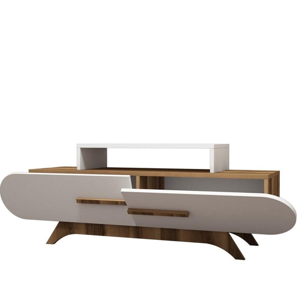 Biely TV stolík s detailmi v dekore orechového dreva