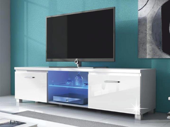 TV stolík/skrinka Lugo 2 (biela + extra vysoký lesk biely) (s osvetlením)
