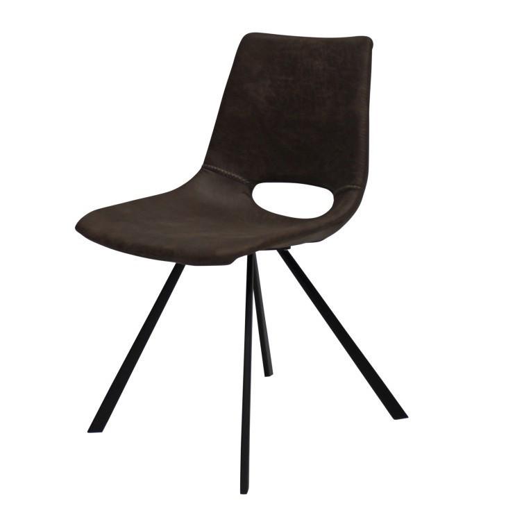 Hnedá jedálenská stolička s čiernym podnožím Canett Coronas