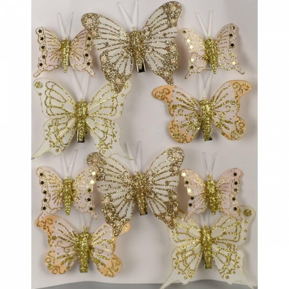 Sada vianočných ozdôb Motýliky zlatá, 10 ks