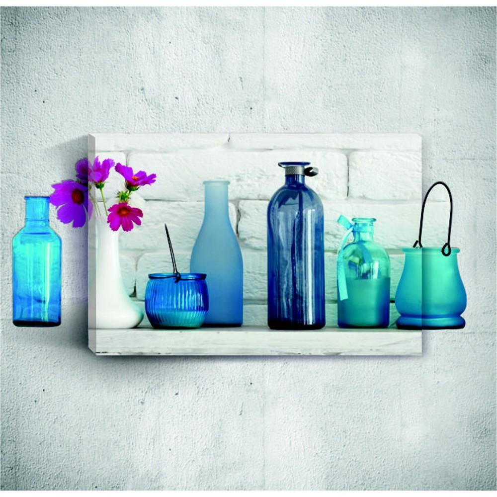 Nástenný 3D obraz Mosticx Blue Bottles With Flowers, 40×60 cm