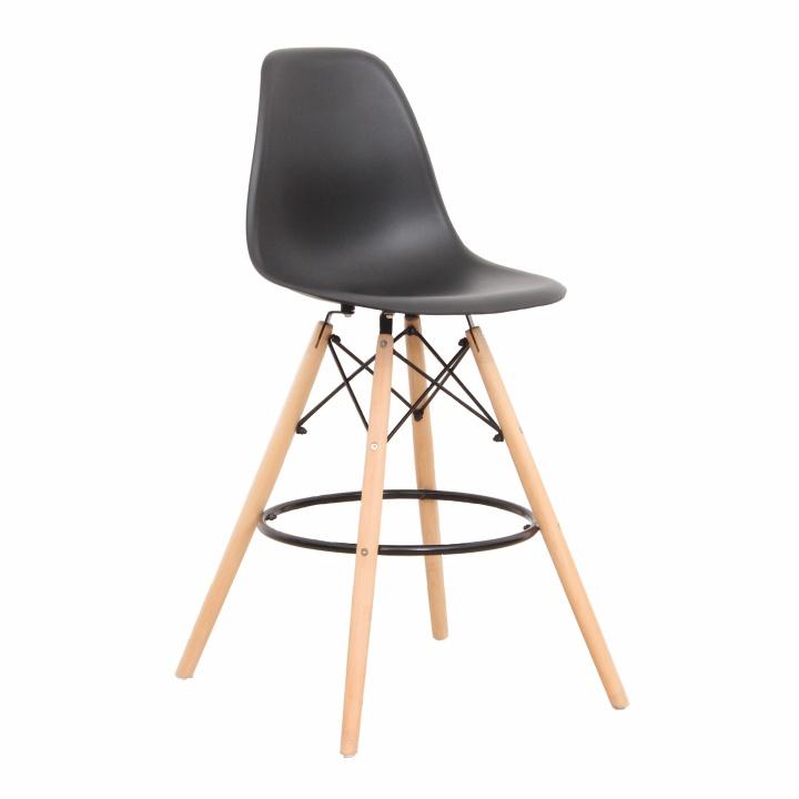 TEMPO KONDELA Barová stolička, čierna/buk, CARBRY New
