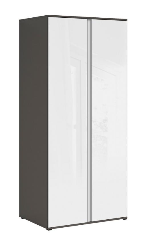 Šatníková skriňa Graphic SZF2D/C   Farba: sivý wolfram / biely zrkadlový lesk