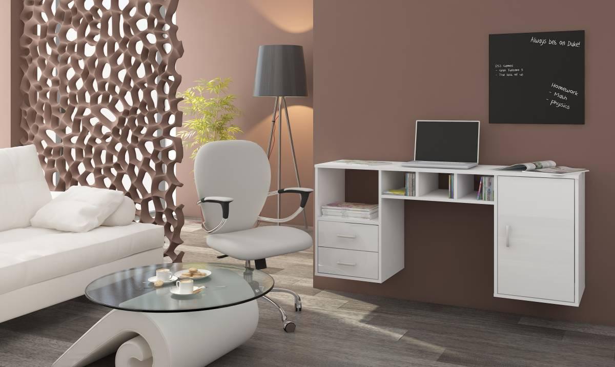 PC stolík Hanger biela + lesk biely