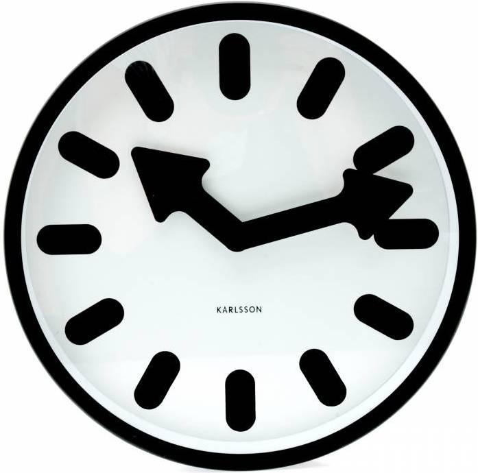 Nástenné hodiny LOTUS - biela/čierna