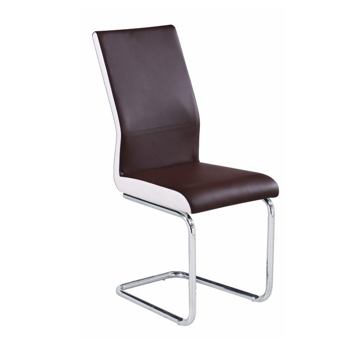 Stolička, ekokoža hnedá/biela + chrom, NEANA