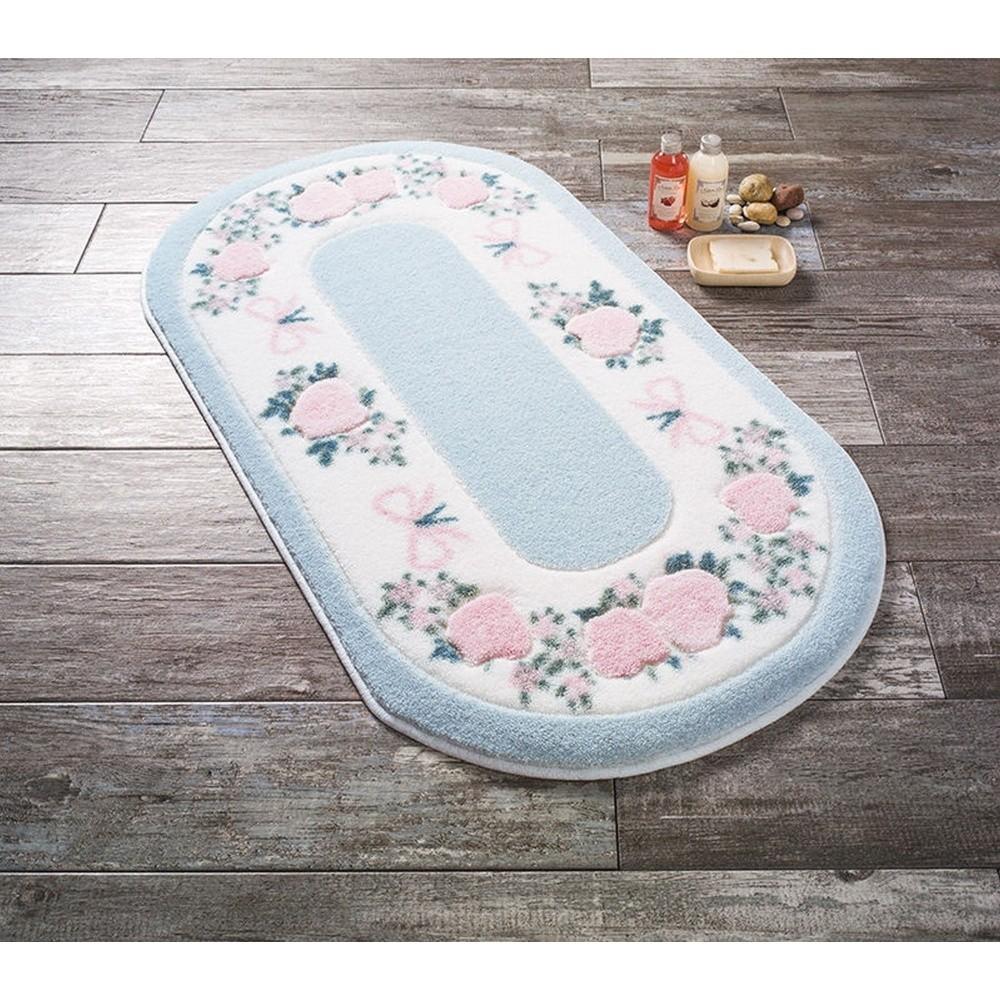 Modrá predložka do kúpeľne Confetti Bathmats Rose FRame, 50 x 57 cm