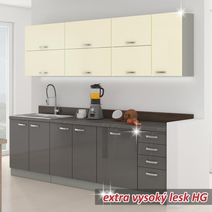 Kuchynská linka, základná zostava, sivá vysoký lesk/krémová vysoký lesk, PRADO
