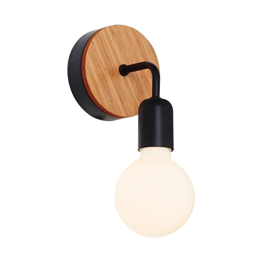 Čierne nástenné svetlo s dreveným detailom Valetta
