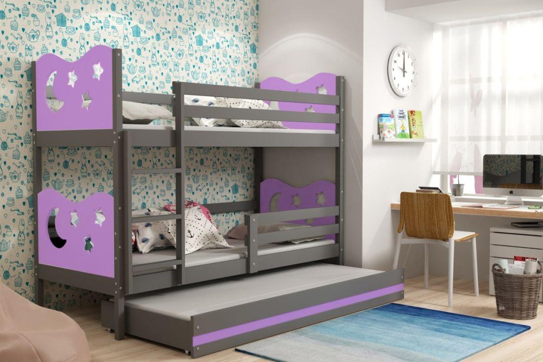 Poschodová posteľ KAMIL 3 + matrac + rošt ZADARMO, 90x200, grafit/fialová
