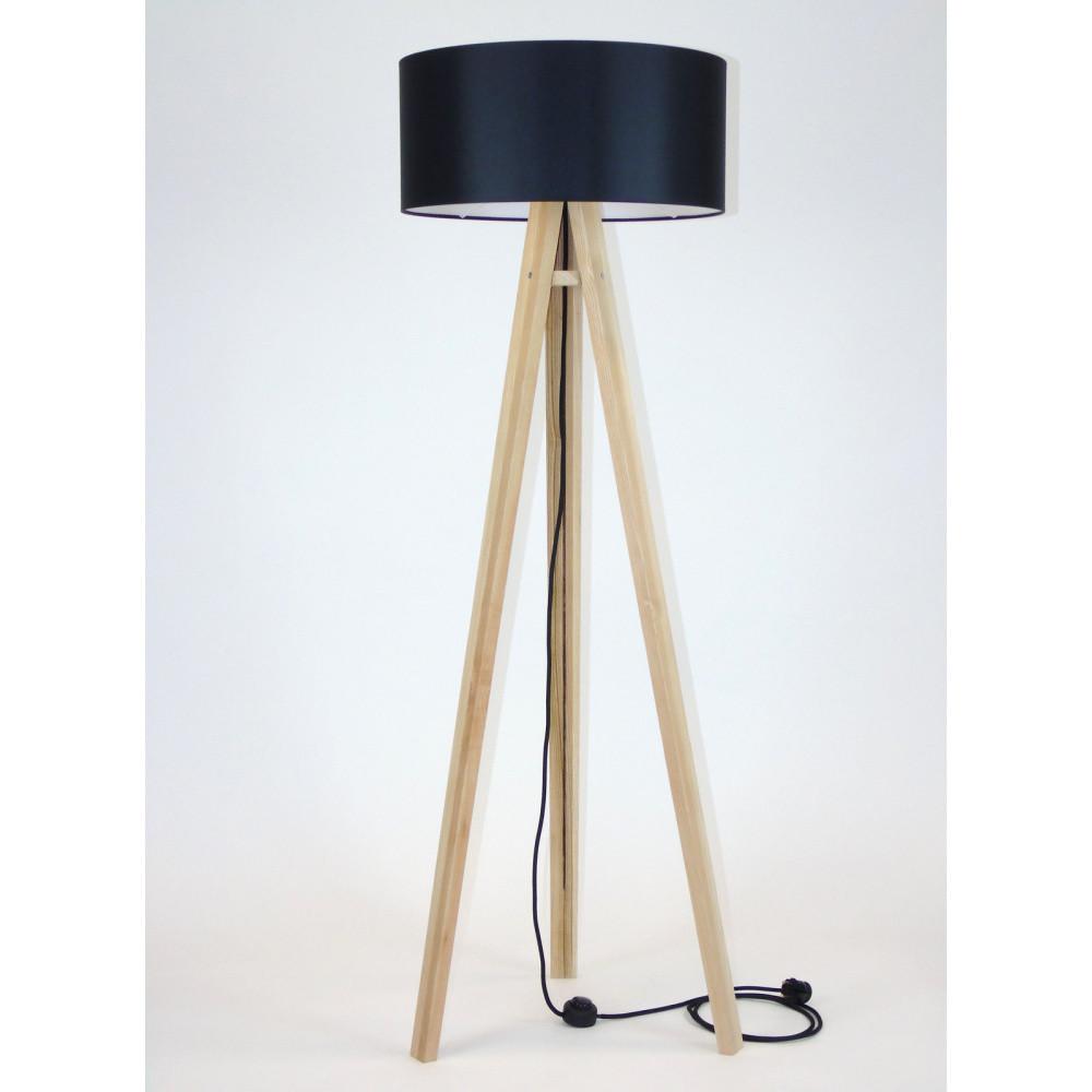 Stojacia lampa s čiernym tienidloma čiernym káblom Ragaba Wanda