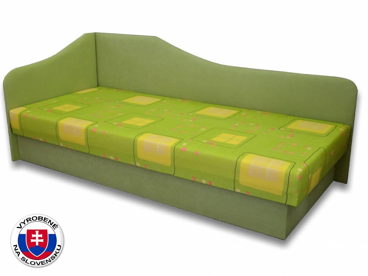 Jednolôžková posteľ (váľanda) 80 cm Lux 87 (Svetlozelená 72 + Kazuo 3) (L)