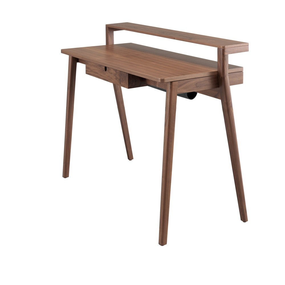 Pracovný stôl z orechového dreva s výsuvkou doskou a zásuvkou Wewood - Portugues Joinery Secreta