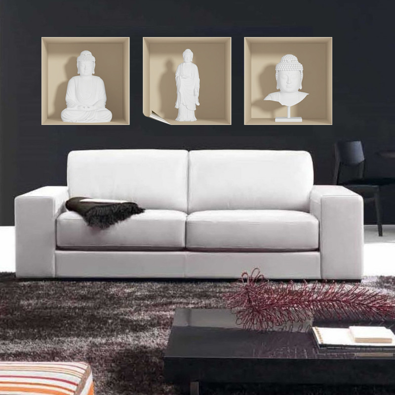 Sada 3 samolepiek Ambiance s 3D efektom Ambiance White Buddha
