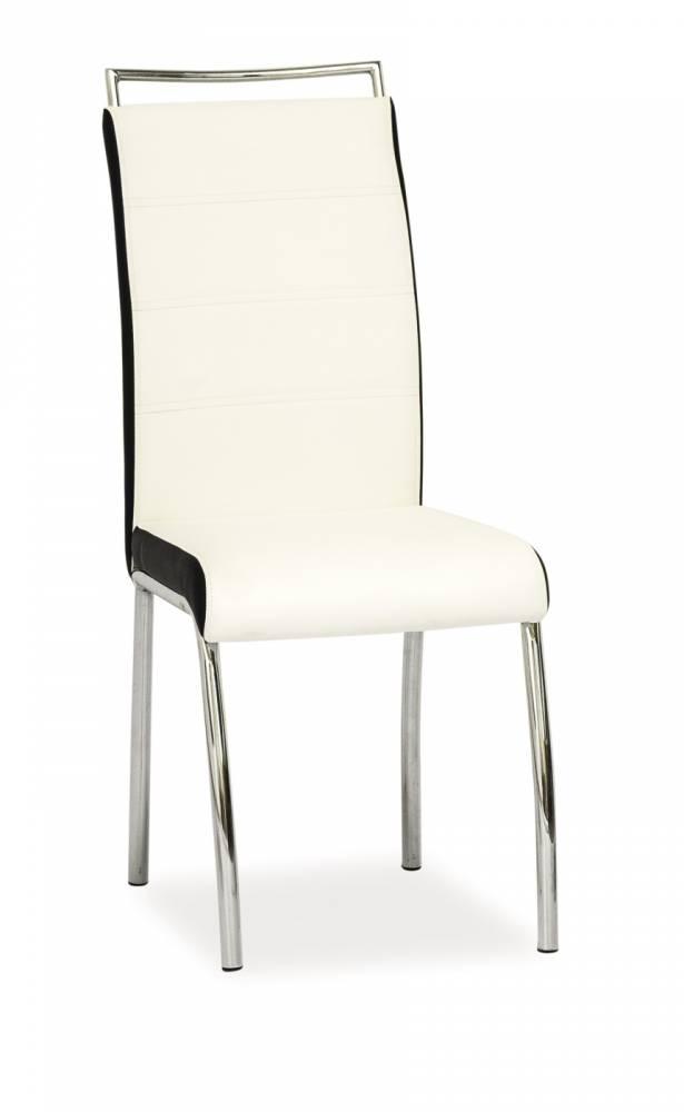 Jedálenská stolička H-442 (ekokoža biela + čierna)