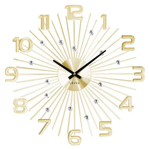 Nástenné hodiny LAVVU LCT1152 CRYSTAL Sun zlaté, 49 cm