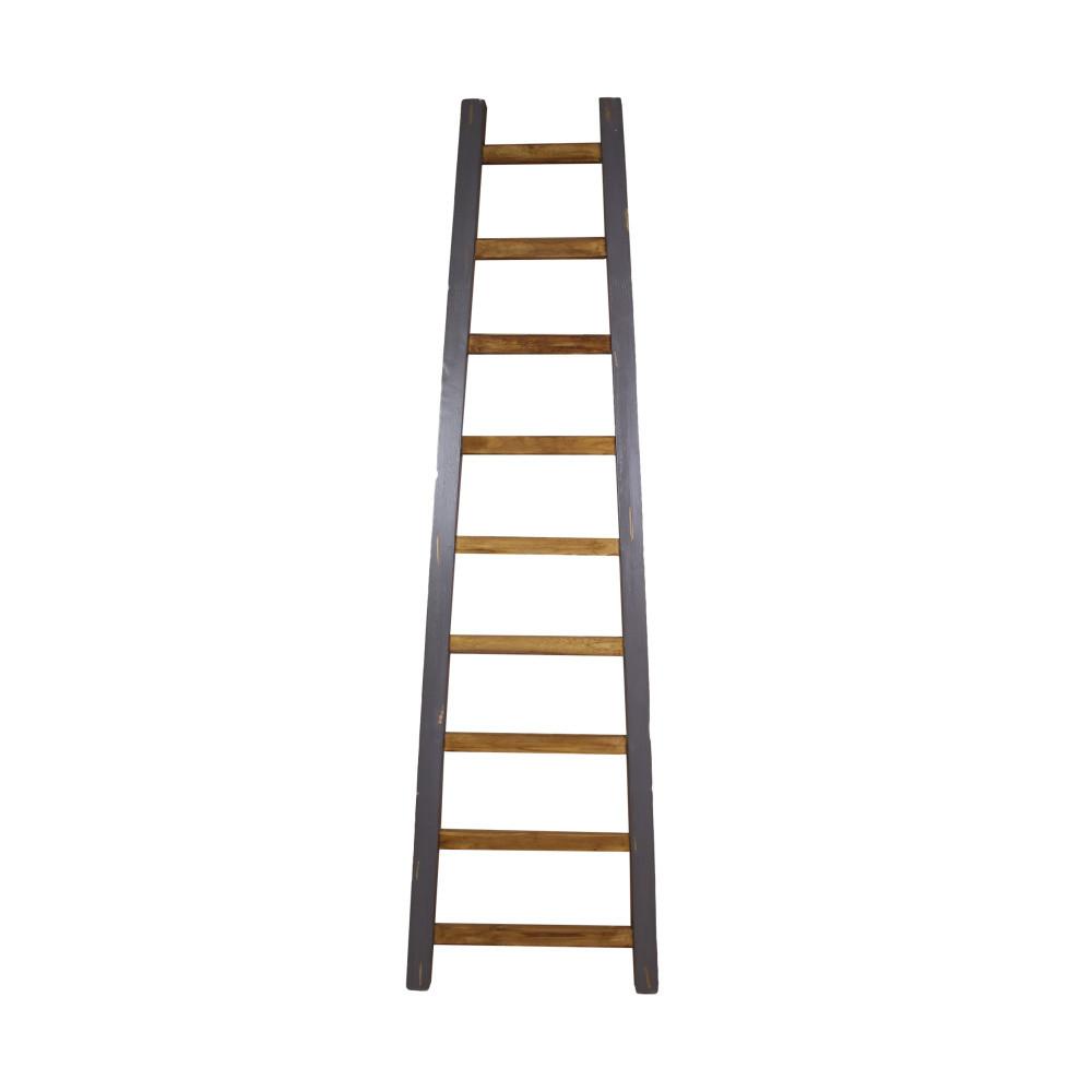 Sivý dekoratívny rebrík z teakového dreva HSM Collection Tangga, 195cm