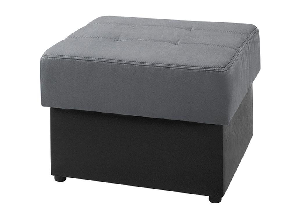 Taburet s úložným priestorom DORIAN, 48x70x70 cm, čierna/šedá