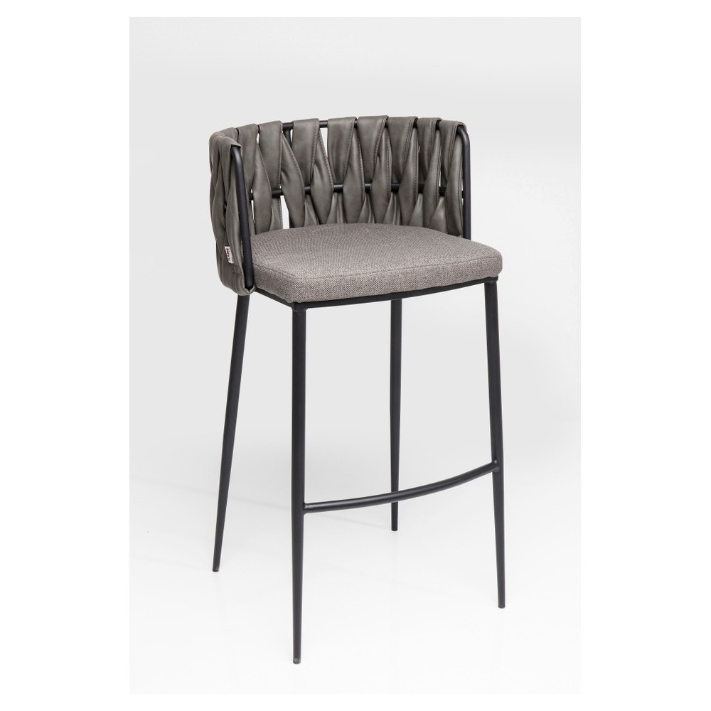 Sada 2 barových stoličiek s sivým poťahom a nohami z bukového dreva Kare Design