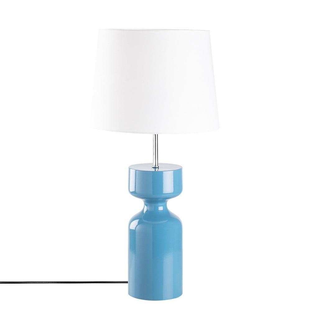 Modrá drevená stolová lampa Opviq lights Asteria
