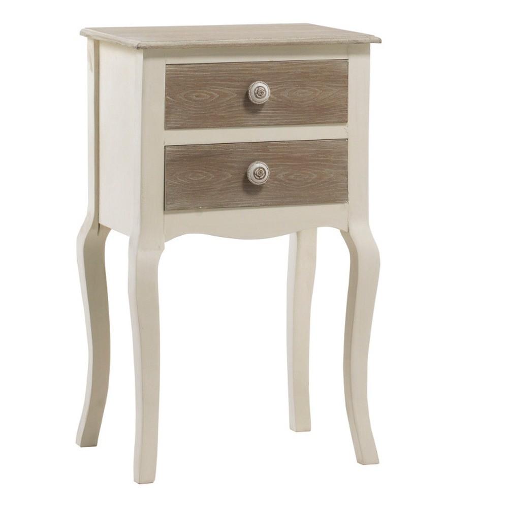 Krémový nočný stolík s 2 zásuvkami Geese Shabby Chic