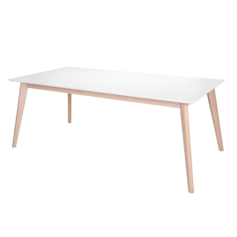 Biely jedálenský stôl s nohami z dubového dreva Interstil Century, dĺžka 200 cm