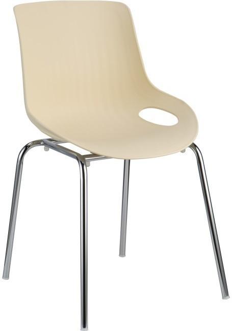 Jedálenská stolička, chróm + plast, béžová, EDLIN