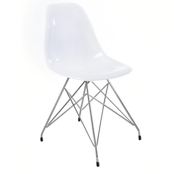 Biela jedálenská stolička Canett Crystal