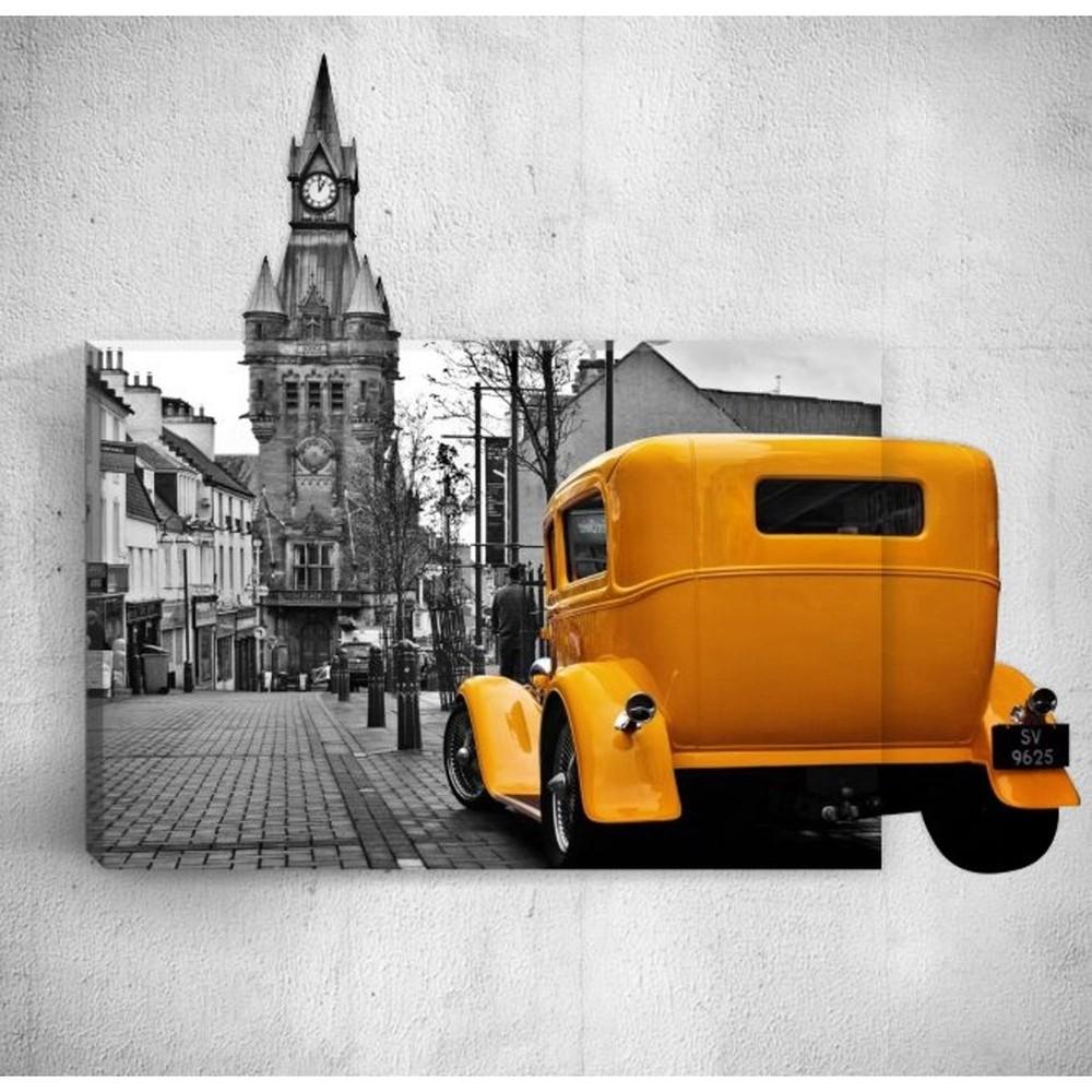 Nástenný 3D obraz Mosticx Yellow Retro Car In City, 40×60 cm