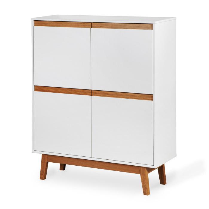 Biela skrinka s podnožou a drevenými detailmi Dřevotvar Ontur 42