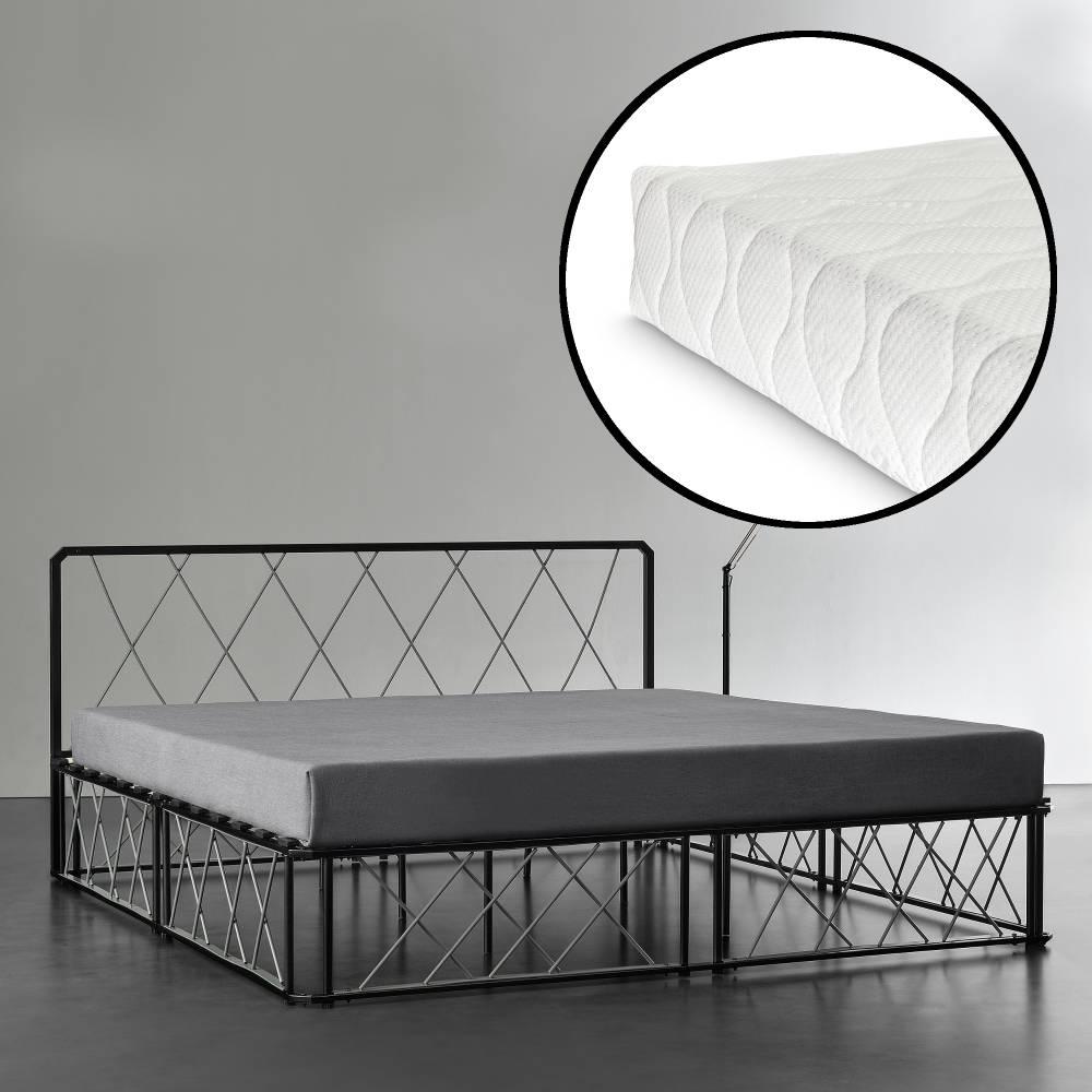 d1834f57b2d1  en.casa ® Kovová manželská posteľ - 180 x 200 cm - čierna · Manželské  postele