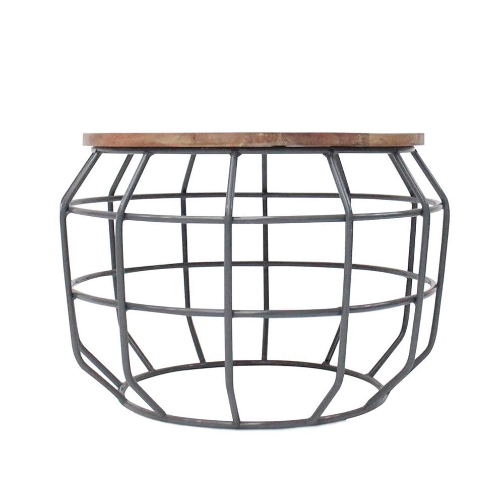 Tmavosivý príručný stolík s doskou z mangového dreva LABEL51 Pixel, Ø 56 cm