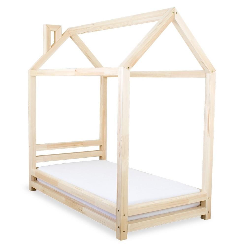 Detská posteľ z lakovaného smrekového dreva Benlemi Happy, 80 × 160 cm