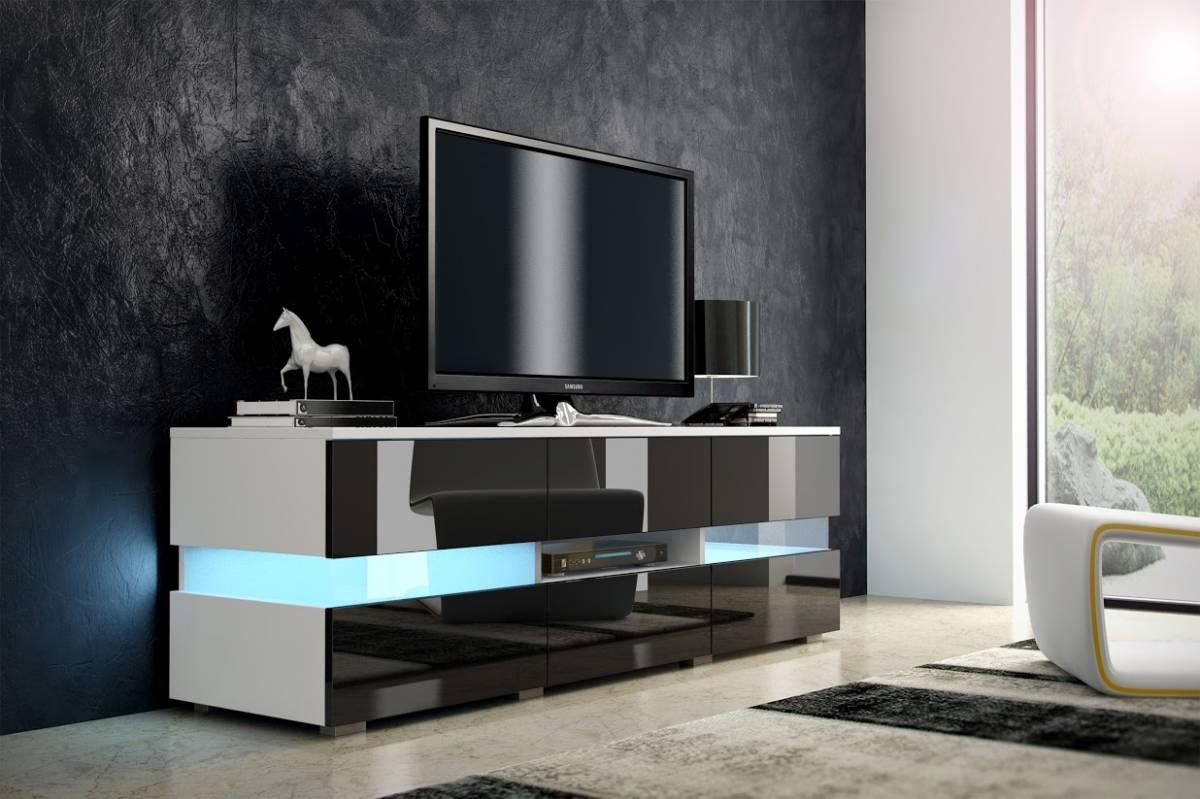 TV stolík Inter biela + lesk čierny