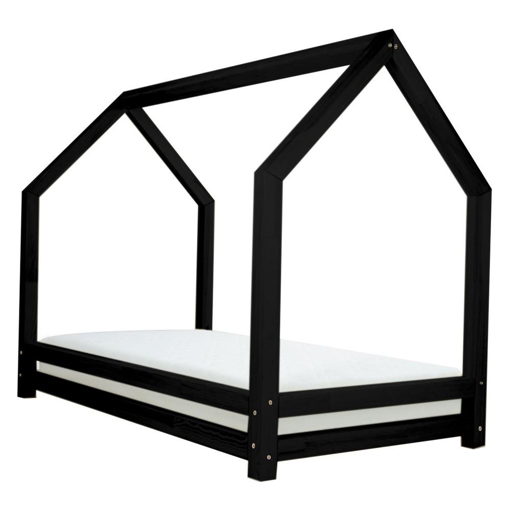 Čierna jednolôžková posteľ z borovicového dreva Benlemi Funny, 80 x 200 cm