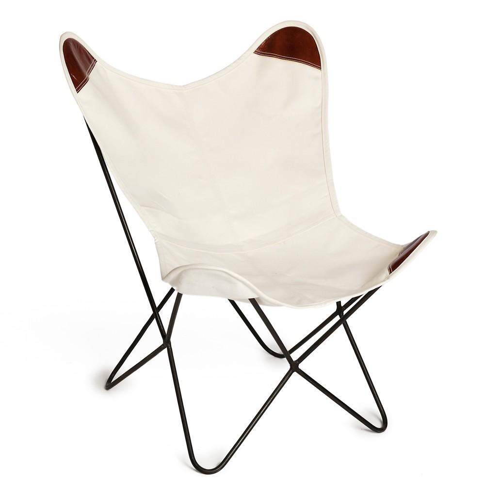 Biela stolička z plátna Simla Butterfly