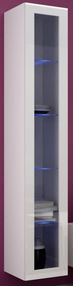 Vitrína na stenu Vigo 180 sklo LED biela (s osvetlením)