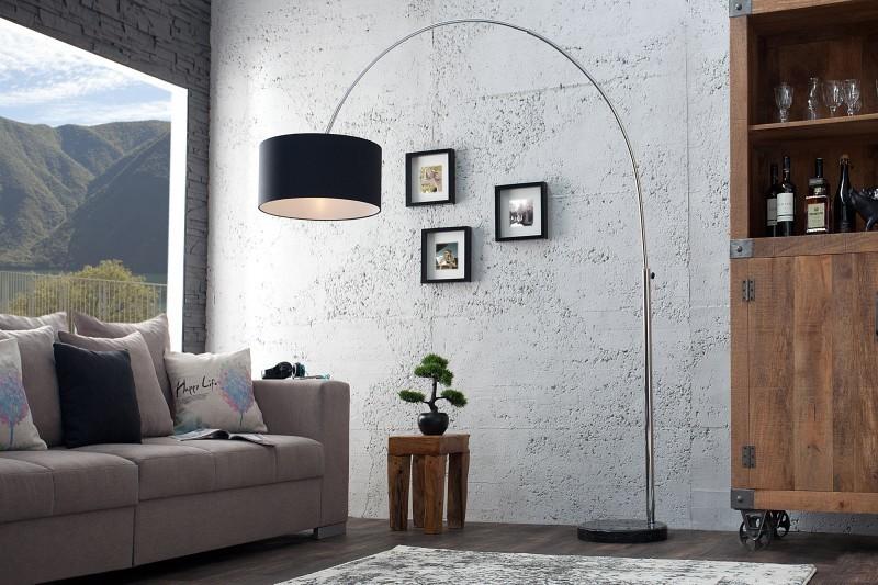 Stojaca lampa BIG BOW - čierna/ľanová