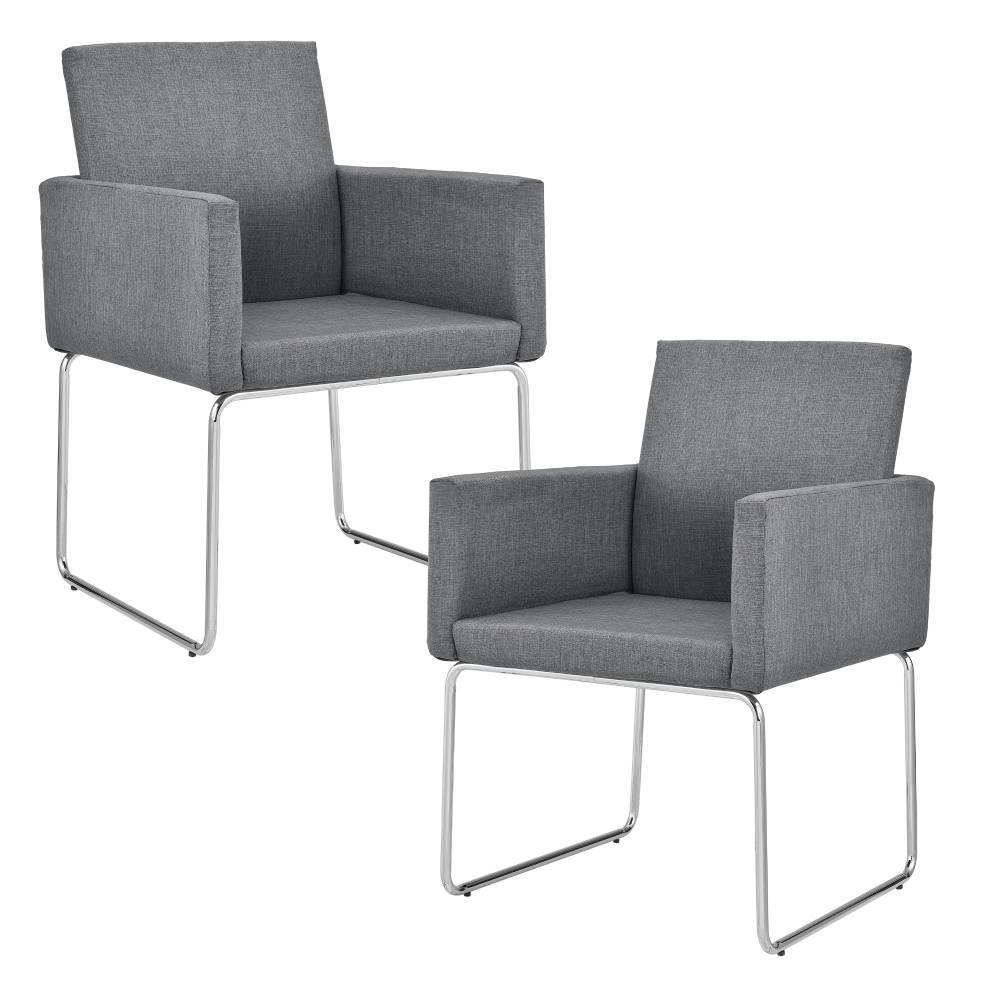 [en.casa]® Dizajnová stolička - 2 ks sada - 82,5 x 54 cm - tmavo sivá
